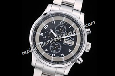 Mido Multifort Chronograph Ref M005.614.11.061.00 White Gold Black Dial Watch
