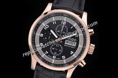 Mido Multifort M005.614.37.057.09 Rose Gold 44mm Chrono 2-Tone Watch