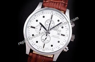 Mido Multifort Chronograph Gents White 44mm Day- Date Silver Watch