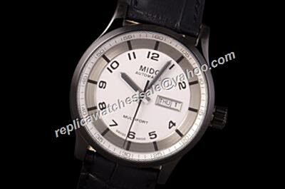 Mido Multifort Ref M005.430.16.032.00 2-Tone Black 42mm Mens Automatic Leather Watch