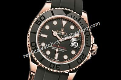 Rolex 40mm Yacht-Master Steel & Platinum Black Rubber Strap Mens Watch