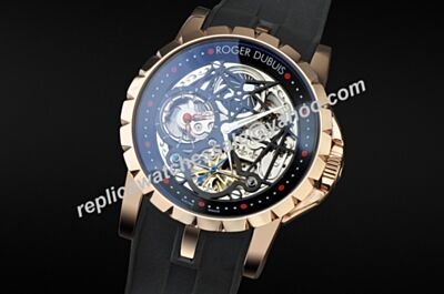 Roger Dubuis Excalibur Double Tourbillon Ref RDDBEX0422 Automatic Black Rubber Watch