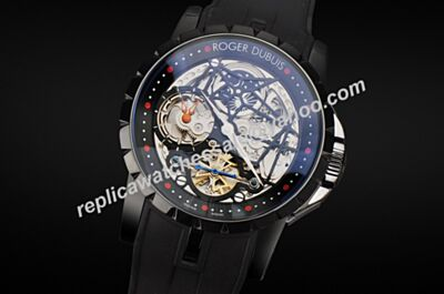 Roger Dubuis Excalibur Tourbillon Ref RDDBEX0473 All Black Automatic Mne's 42mm Watch