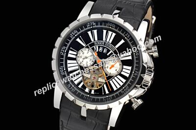 Faux Roger Dubuis Excalibur 45 Chrono Tourbillon Chrono  2-Tone Dial Black Watch