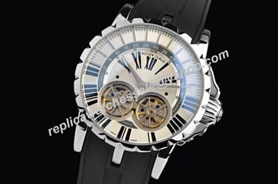 Roger Dubuis Excalibur 45 Auto Double Tourbillon Mens White Gold Watch