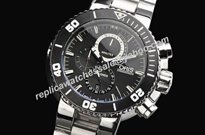 Oris Chronograph 01 674 7630 7154-Set Carlos Coste Limited Diving Silver Bracelet Watch
