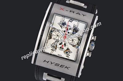 Hysek X-RAY Perpetual Calendar Skeleton Red Hand Silver Watch