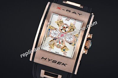 Cheap Fake Jorg Hysek X-RAY Rose Gold SS Skeleton Calendar Chrono Watch