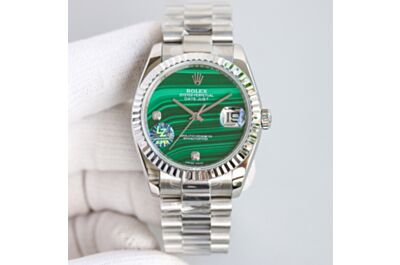 High-End Rolex Perpetual Day-Date Malachite Dial 36 Stainless Steel Strap Pit Pattern Bezel Watch Replica