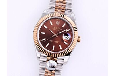 Rolex Oyster Perpetual Datejust Chocolate Dial Rose Gold Pit Pattern Bezel Stainless Steel Bracelet Watch Replica 126334