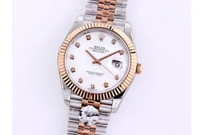 High-End Rolex Oyster Perpetual Datejust Rod-Shaped Hour Marker Pit Pattern Bezel Stainless Steel Bracelet Watch 126334