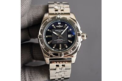 Breitling Avenger Stainless Steel Strap Black Dial Sword-Shaped Hand Minute Track Date Window Watch
