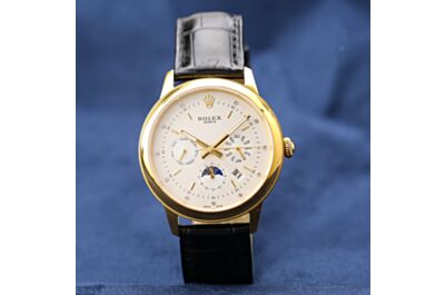 Rolex New Cellini Sapphire Mirror Day, Month, Date, Multifunction Real Alligator Leather Silver Case Watch