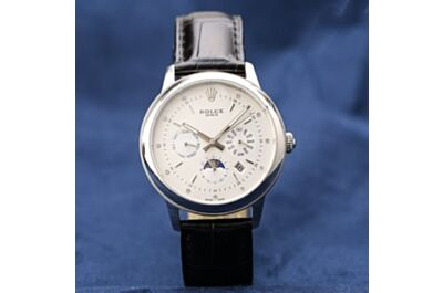 Rolex New Cellini Sapphire Mirror Day, Month, Date, Multifunction Real Alligator Leather gold Case Watch