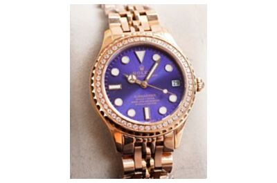 Replica New Rolex Datejust Gold Stainless Steel Plating Strap Purple Dial Gorgeous Mechanical Watch For Girls