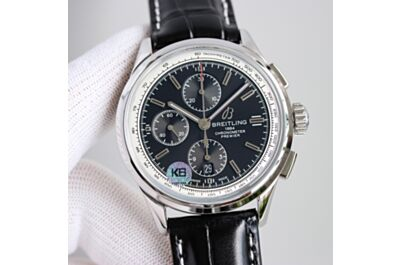 Breitling Premier Black Dial White Tachymeter Scale Minute & Hours Counters Second Subdial Date Window Watch