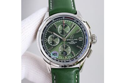 Breitling Premier Green Dial & Leather Strap Black Tachymeter Minute & Hours Counters Second Subdial Date Window Watch Replica