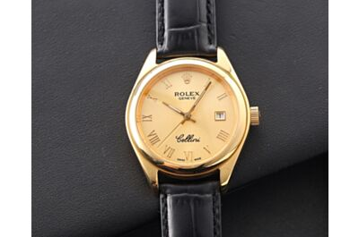 High-Quality Rolex Cellini Stainless Steel Case Scratch-Resistant Sapphire Crystal Glass Watch Italian Cowhide Strap Vintage Watch