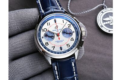 Fake Breitling Premier White Dial Blue Tachymeter Scale Red Minute Track Minute&Hour Counters Arabic Numeral Hour Marker Watch