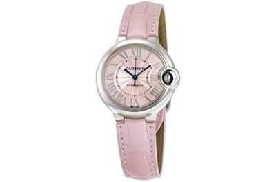 Ballon Bleu De Cartier Stainless Steel Case, Silver-Plated Pearl Guilloche Pattern Dial, Multicolor Leather Strap Watch Replica