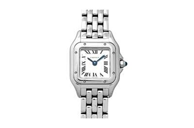 Elegant Panthère de Cartier stainless steel case, silver-plated dial, sword-shaped blue steel pointer watch WSPN0006
