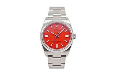 High End Rolex Oyster Perpetual Red Dial Parallel Bars Hour Markers Oyster Strap Men's Elaborate Fake Watch 126000