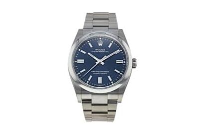 SSS Men's Rolexe Oyster Perpetual Sea Blue Dial Parallel Bars Hour Markers Watch 126000