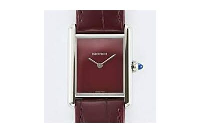 Replica Cartier Tank Must Large Model Stainless Steel Case Red Dial Leather Strap Watch WSTA0054