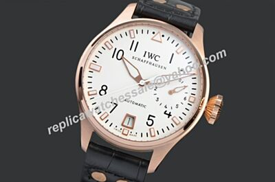 IWC Big Pilot Tourneau Power Reserve 7 Day 18k Rose Gold Bezel Watch
