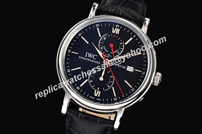 Mens IWC Portofino IW361002 Dual Time 24 Hoers Edition Date Watch
