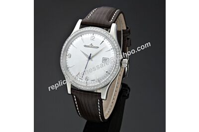 Swiss Replica Jaeger-LeCoultre Master Control Ultra Thin JJ050. ETA 2824-2, Diamonds in Steel Case, White Dial, Black Leather Strap