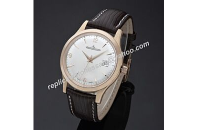 Swiss Replica Jaeger-LeCoultre Master Control Ultra Thin JJ055. ETA 2824-2, Rose Gold Case, White Dial, Black Leather Strap
