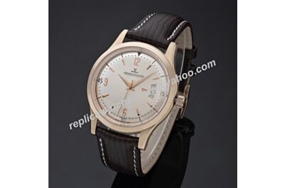 Swiss Replica Jaeger-LeCoultre Master Control Ultra Thin JJ057. ETA 2824-2, Rose Gold Case, Pink Gold Dial, Black Leather Strap