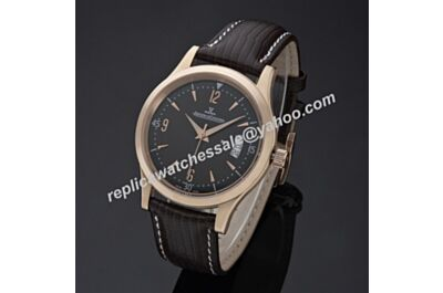 Swiss Replica Jaeger-LeCoultre Master Control Ultra Thin JJ060. ETA 2824-2, Rose Gold Case, Black Dial, Black Leather Strap