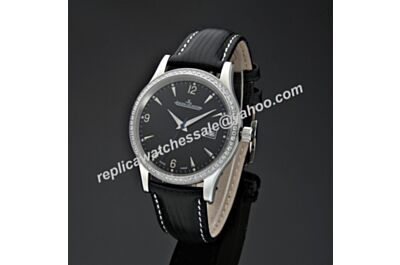 Swiss Replica Jaeger-LeCoultre Master Control Ultra Thin JJ061. ETA 2824-2, Diamonds in Steel Case, Black Dial, Black Leather Strap