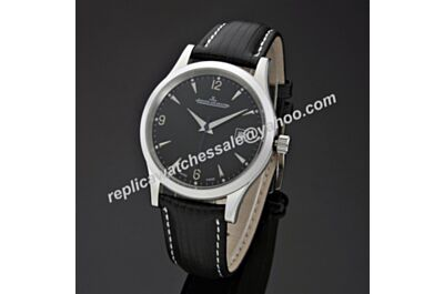 Swiss Replica Jaeger-LeCoultre Master Control Ultra Thin JJ064. ETA 2824-2, Swiss 316L Steel Case, Black Dial, Black Leather Strap