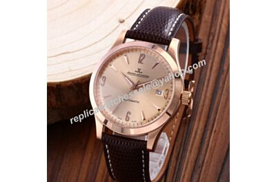 Swiss Replica Jaeger-LeCoultre Master Control Ultra Thin JJ079. ETA 2824-2, Rose Gold Case & Dial, Brown Leather Strap