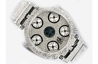 Paved Diamond Jacob & Co Five Time Zone World Time Jewelry Watch