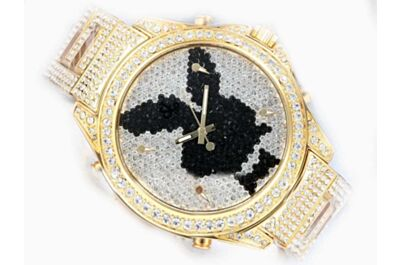 Ladies Jacob & Co Five Time Zone Playboy  Full Diamonds Bracelet Gold Watch