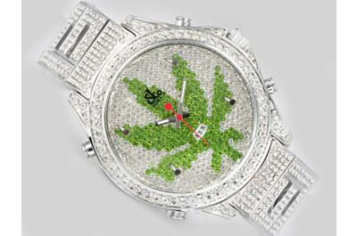 Jacob & Co Five Time Zone Green Maple leaf All Diamonds Quartz  Watch