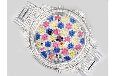 Jacob & Co Five Time Zone Ref JC-40MMP 40mm Colorful Pattern Diamonds Watch