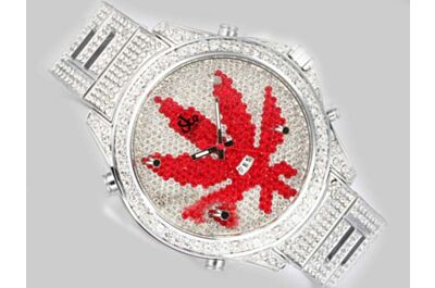 Ladies Jacob & Co Five Time Zone Red Maple leaf Diamonds Clone Steel Bracelet Watch