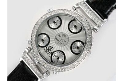 Jacob & Co Five Time Zone Ladies Quartz  Diamond Case Watch