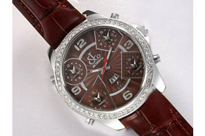 Jacob & Co Five Time Zone Lady Brown Diamond Bezel Fake Silver Date Watch