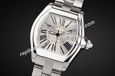 Men's Swiss W62025V3 Roadster de Cartier Tonneau White Gold Watch Rep KDY009