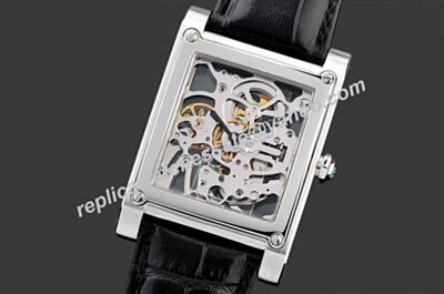 Cartier Tank Celebrities Fake White Gold Special Skeleton Face Watch