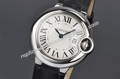 White Dial Ballon Bleu de Cartier Silver Steel Leather Band Watch