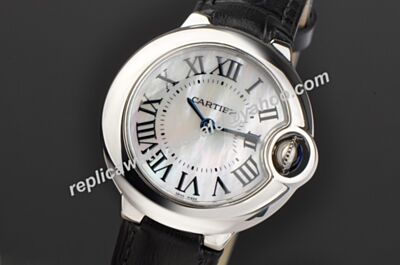 Reproduction Black Strap Ballon Bleu de Cartier Mop Face Unisex Quartz Watch