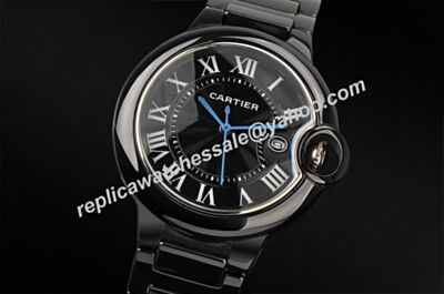 Men's 42mm Ballon Bleu de Cartier W6920042 Black PVD/DLC All Black Ceramics Date Watch