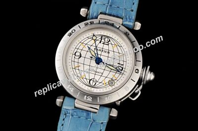 Pasha De Cartier Ref 2377 GMT Special Edition Quartz Date Blue Strap Watch